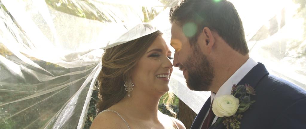 Bride and Groom Wedding Videography at Aldridge Gardens / underneath the veil