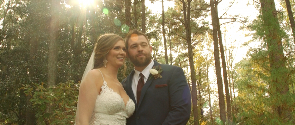 Bride and Groom Wedding Videography at Aldridge Gardens / standing in the woods